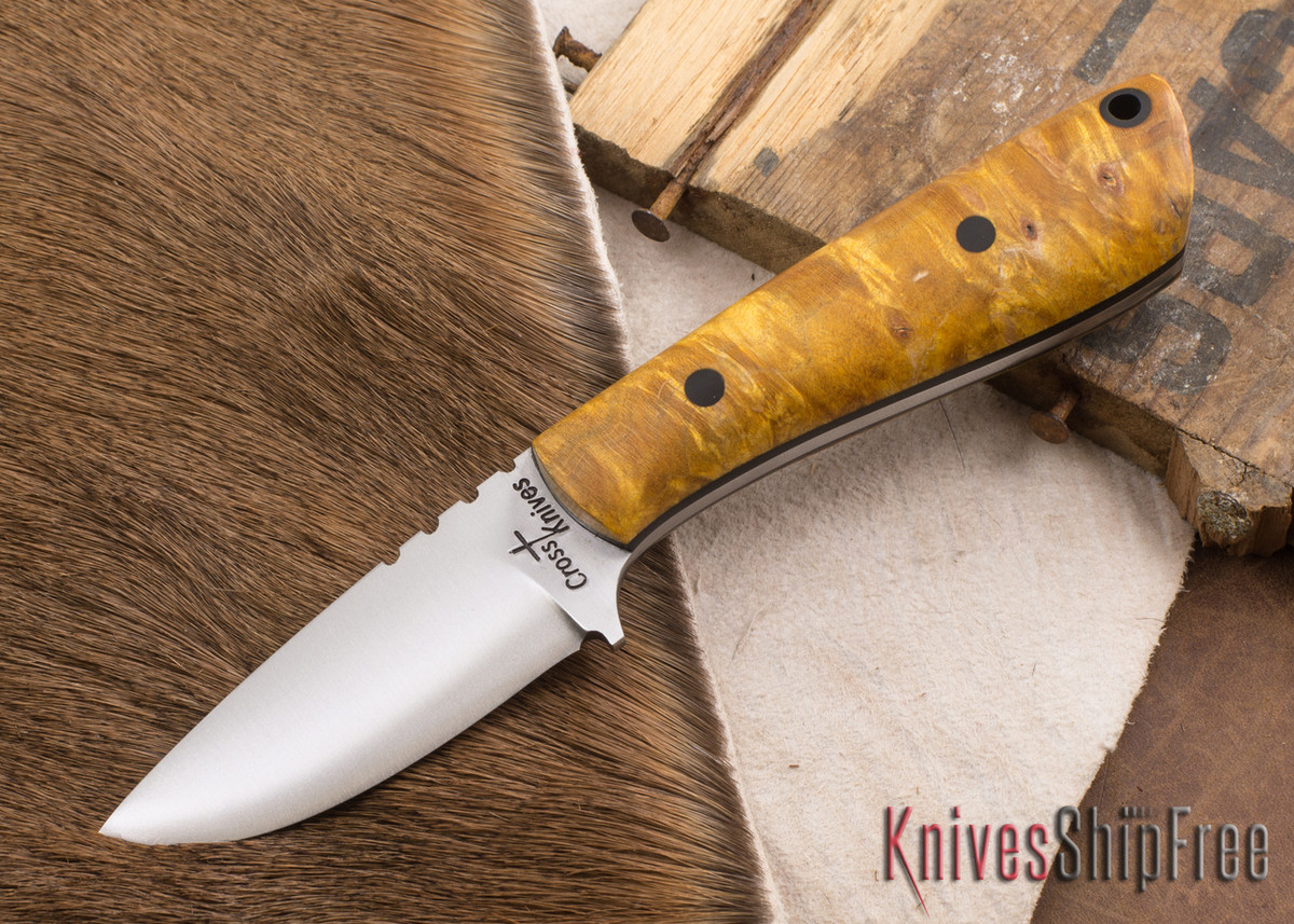 Cross Knives: Necker - Dyed Maple - Black Liners - A2 Steel - 022601 primary image