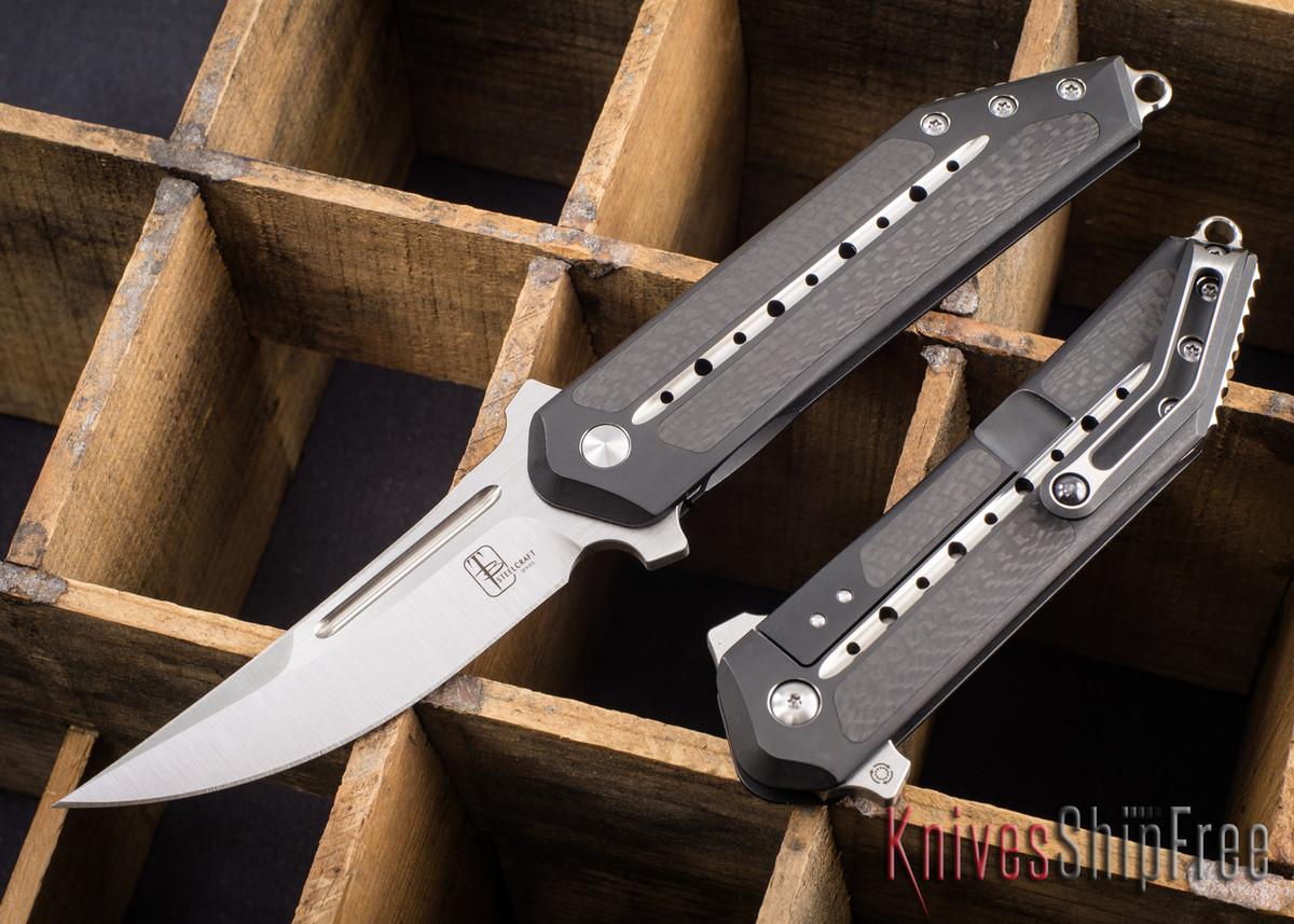 Todd Begg Knives: Steelcraft Series - 3/4 Kwaiken - Carbon Fiber Inlay - Black Titanium - Satin Blade primary image