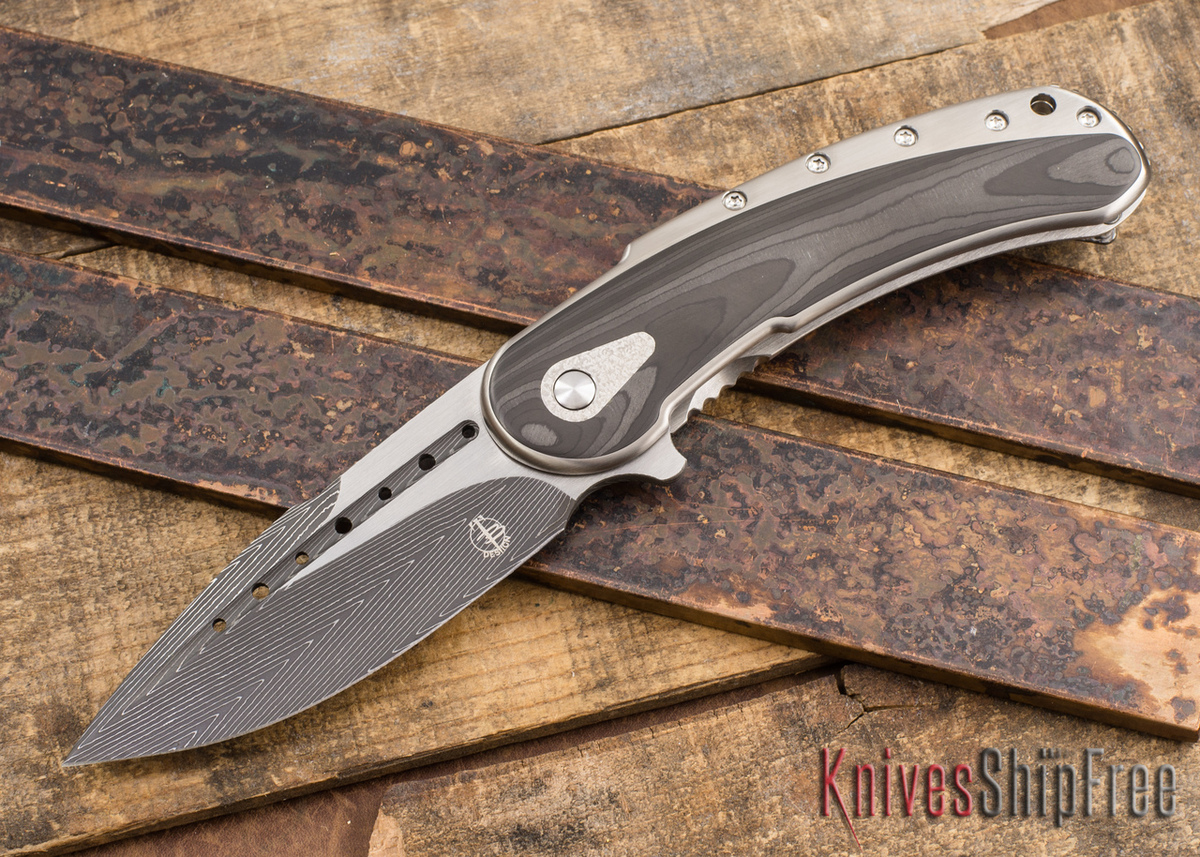 Todd Begg Knives: Custom Bodega - Herringbone Pearl Carbon Fiber -  Herringbone Damascus Blade