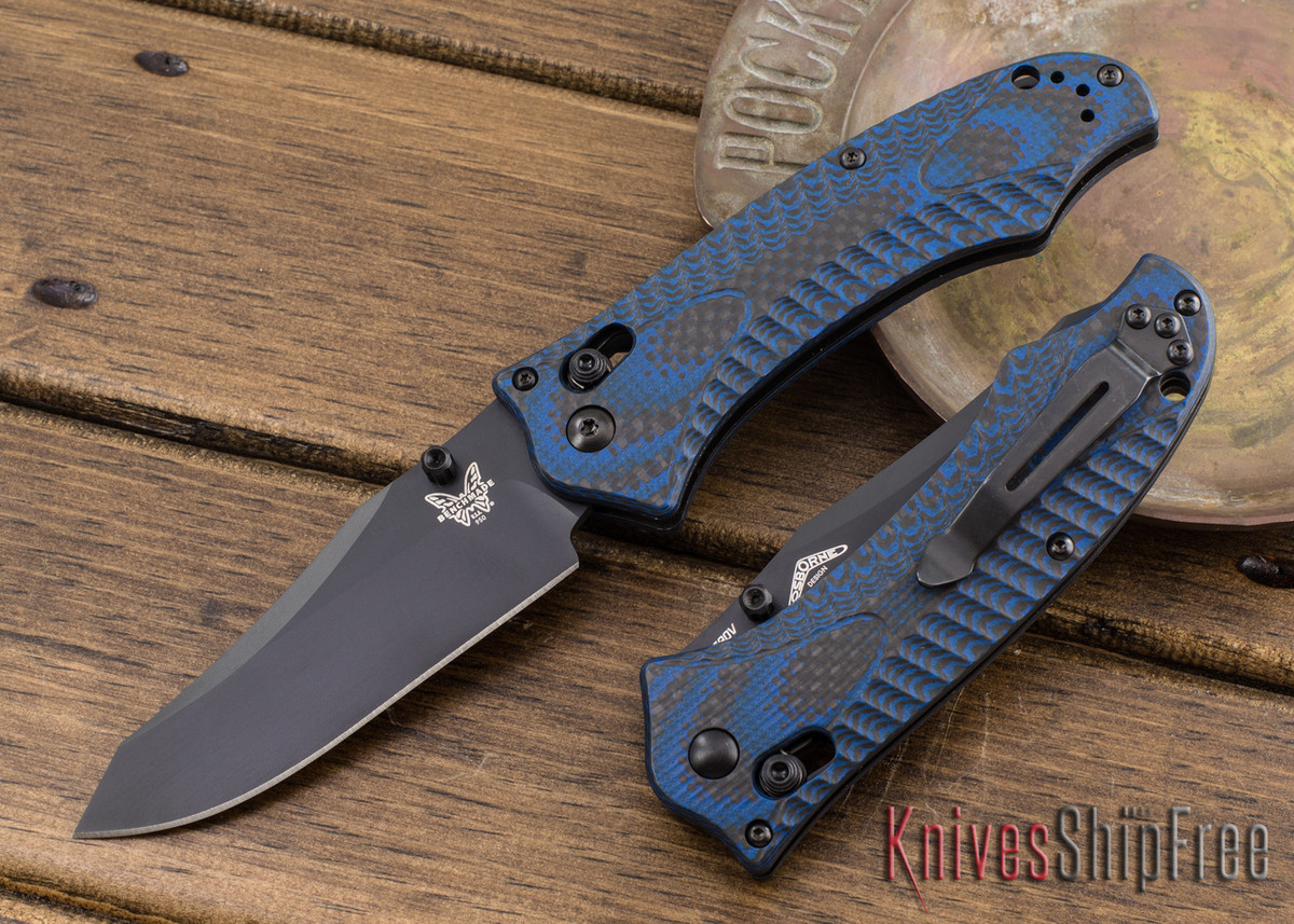 Benchmade Knives: 950BK-1801 Rift - Limited Edition - Carbon Fiber/Blue G-10 primary image