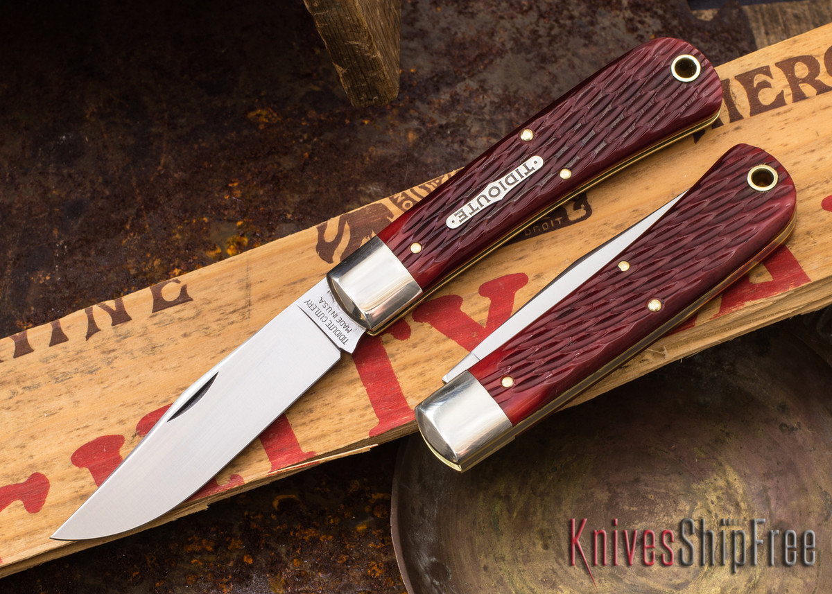 Great Eastern Cutlery: #43 Oregon Trapper - Tidioute - Rust Red Jigged Bone