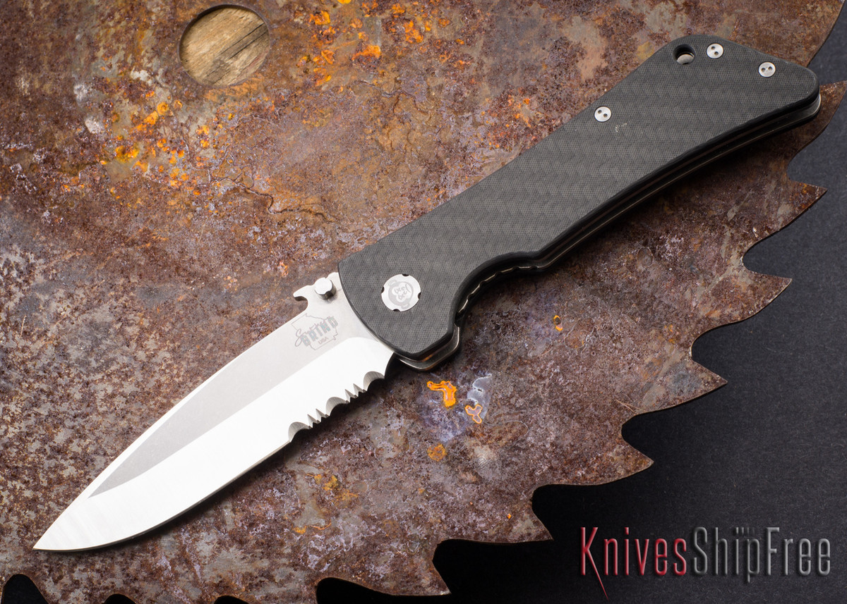 Southern Grind: Bad Monkey - Emerson Drop Point Satin Serrated Blade - Carbon Fiber primary image