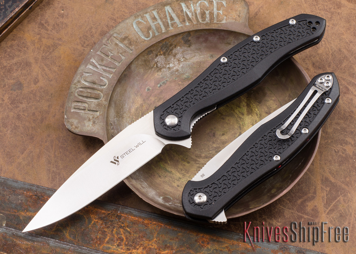 Steel Will Knives: Intrigue - Black FRN - D2 Steel primary image