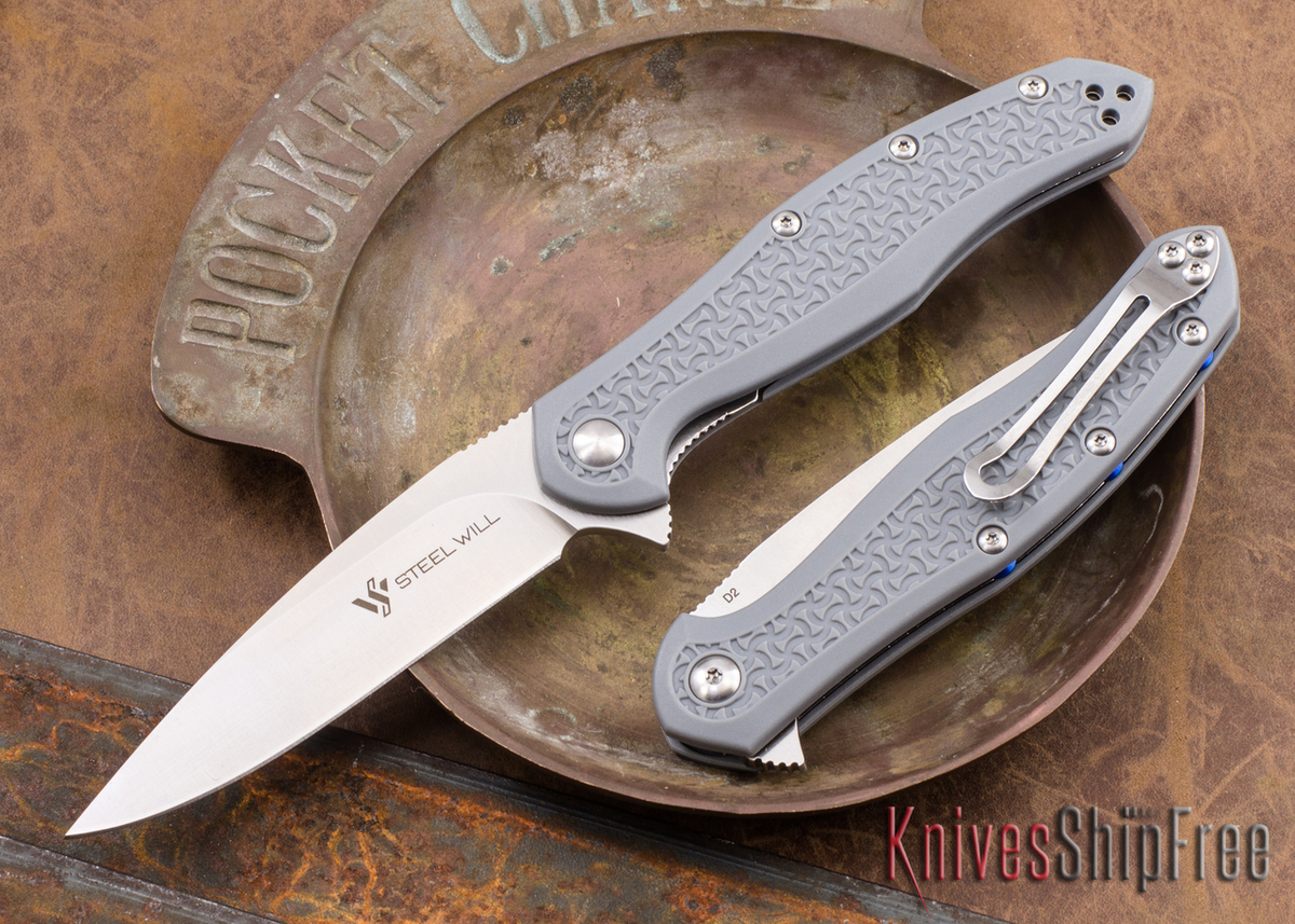 Steel Will Knives: Intrigue Mini - Gray FRN - D2 Steel