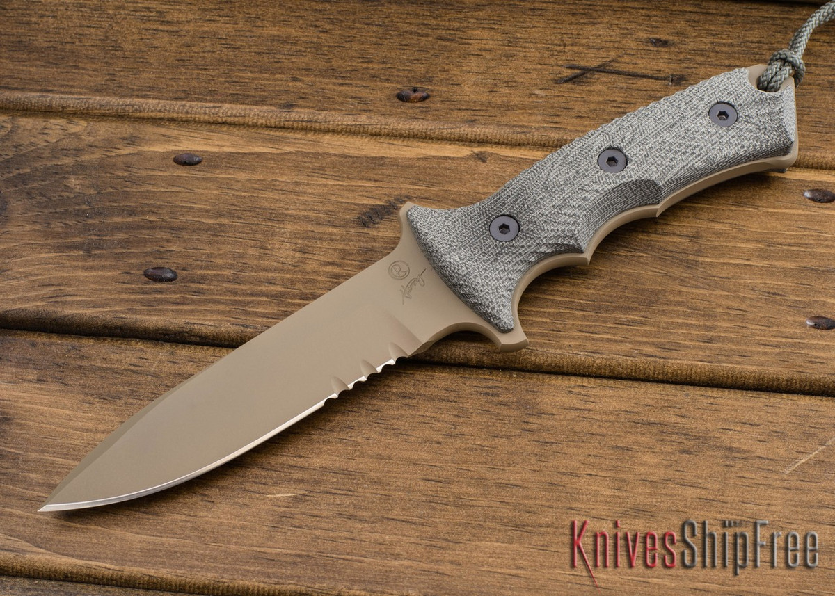 "Chris Reeve Knives: Green Beret - 5.5"" - Flat Dark Earth KG Gun Kote - Serrations primary image"