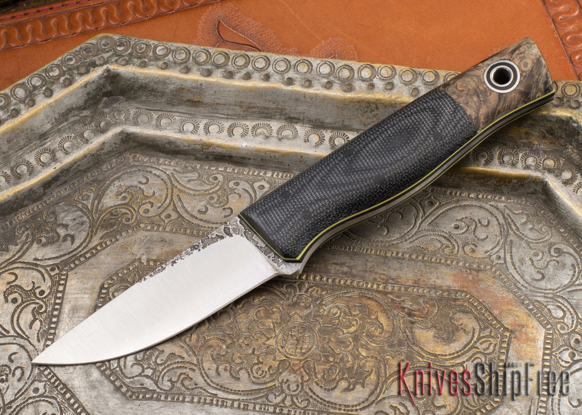 Fiddleback Forge: Patch Knife - Black Ash Burl - Black Micarta - Yellow Liners primary image