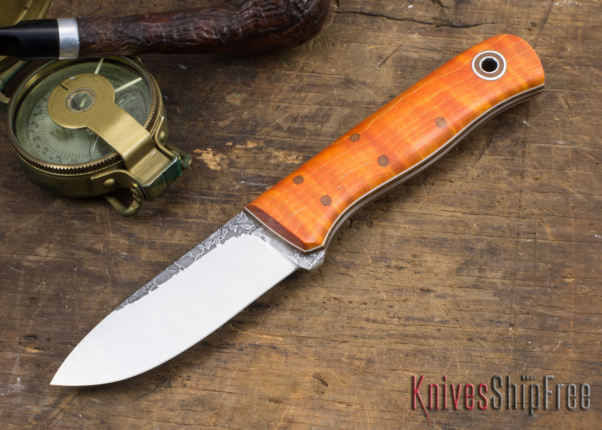 Fiddleback Forge: Bushcrafter Jr. - Dyed Curly Maple - Natural & White Liners - Tapered Tang - FF31ED006 primary image