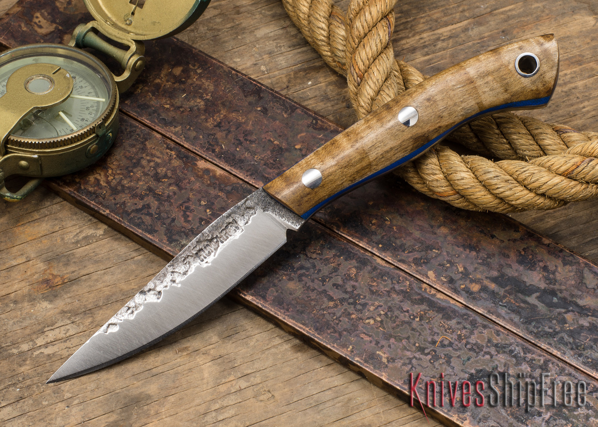 Lon Humphrey Knives: Bird & Trout - Forged 440C - Dark Curly Maple - Blue Liners #3 primary image