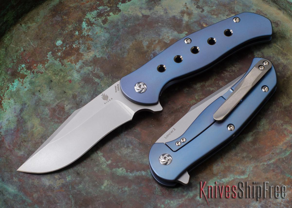 Kizer Cutlery: Lancer 2 - Blue Titanium Framelock - CPM-S35Vn primary image
