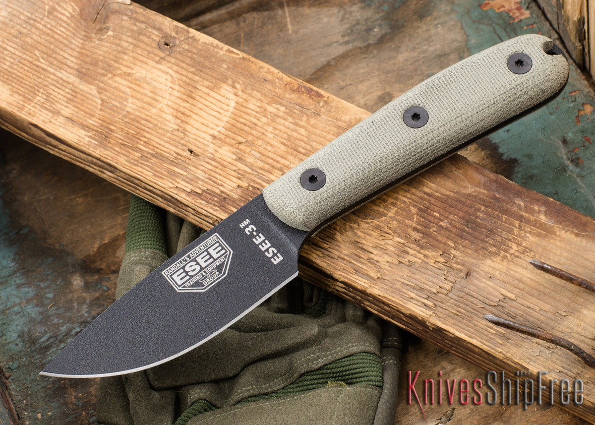 ESEE Knives: ESEE-3HM-K - Black - Traditional Handle primary image