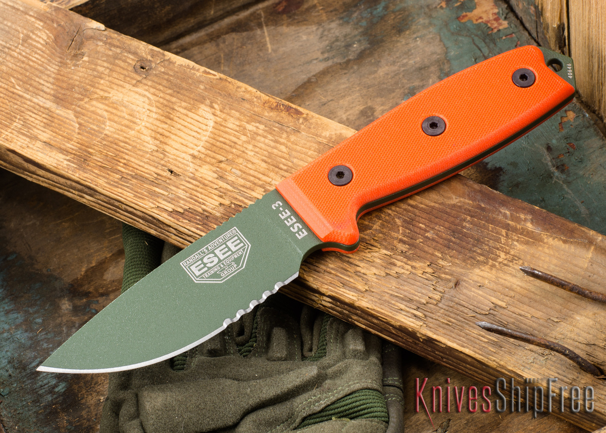 ESEE Knives: ESEE-3S-OD - Olive Drab Serrated primary image