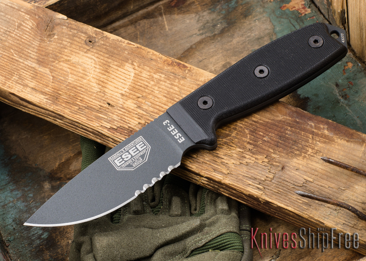 ESEE Knives: ESEE-3S-TG-B - Gray Serrated primary image