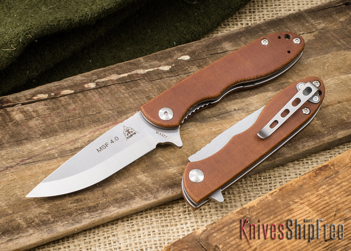 TOPS Knives: Mini Scandi Folder - Tan Canvas Micarta primary image
