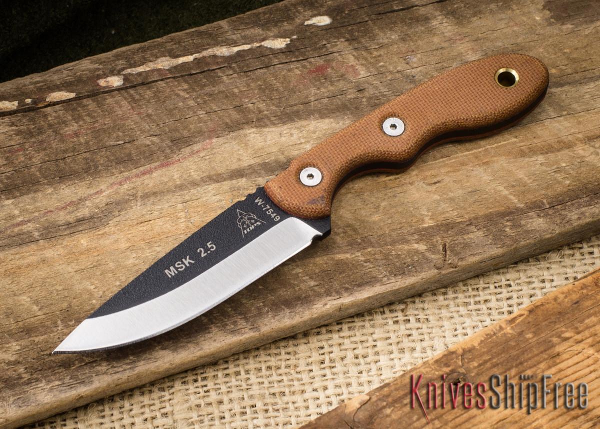 TOPS Knives: Mini Scandi Neck Knife - Tan Canvas Micarta primary image