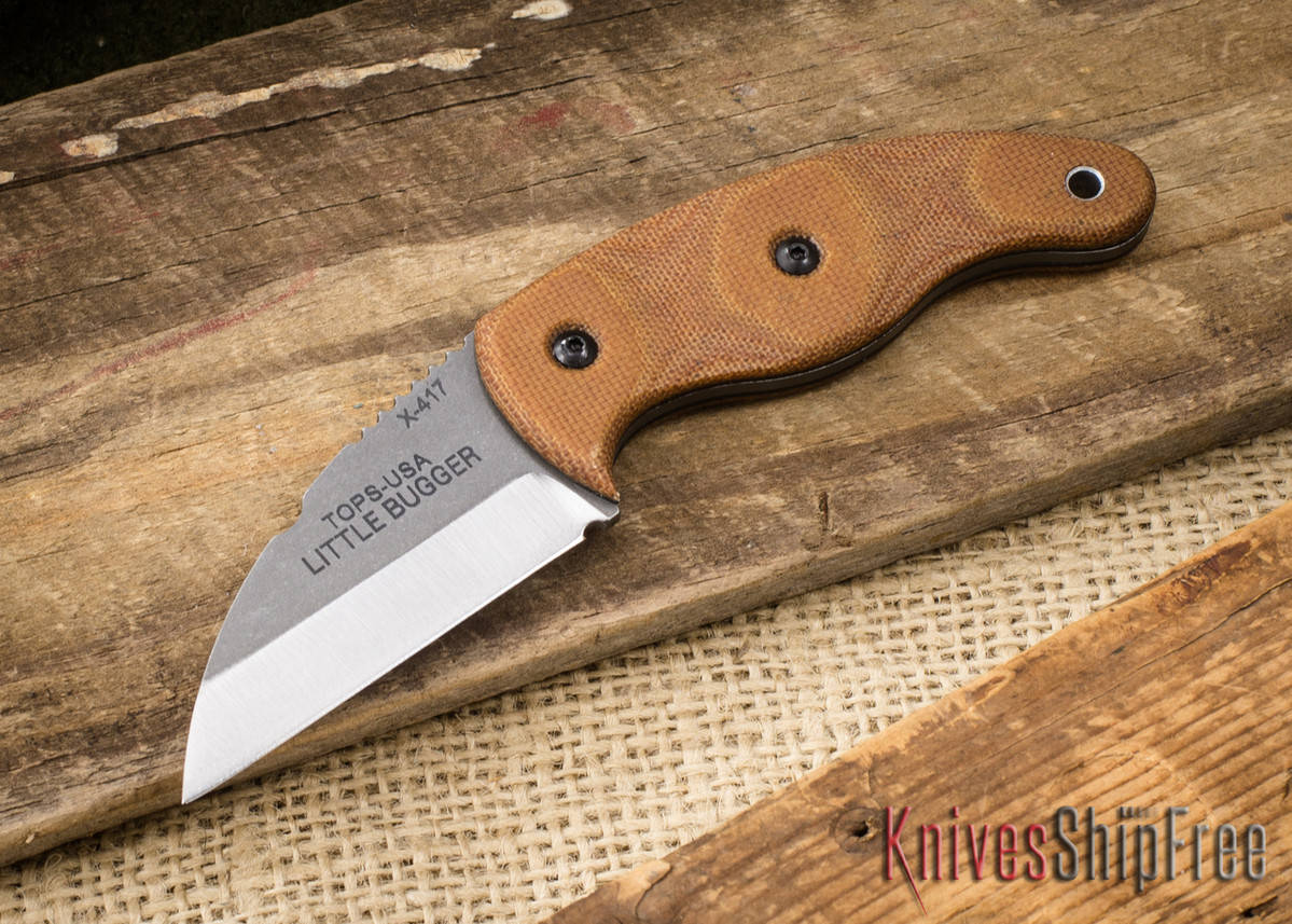 TOPS Knives: Little Bugger - Neck Knife - Tan Canvas Micarta primary image