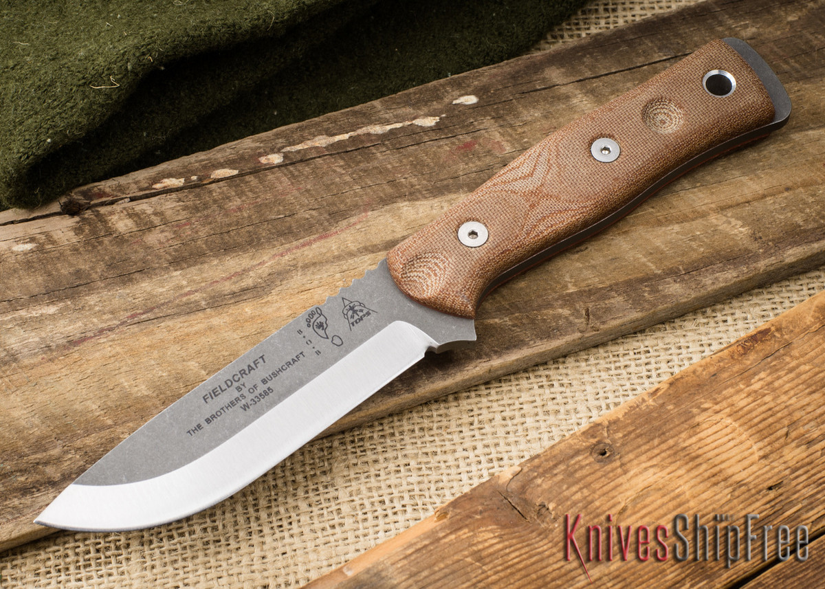 TOPS Knives: Fieldcraft by Brothers of Bushcraft - Tan Canvas Micarta - Tumbled Finish primary image
