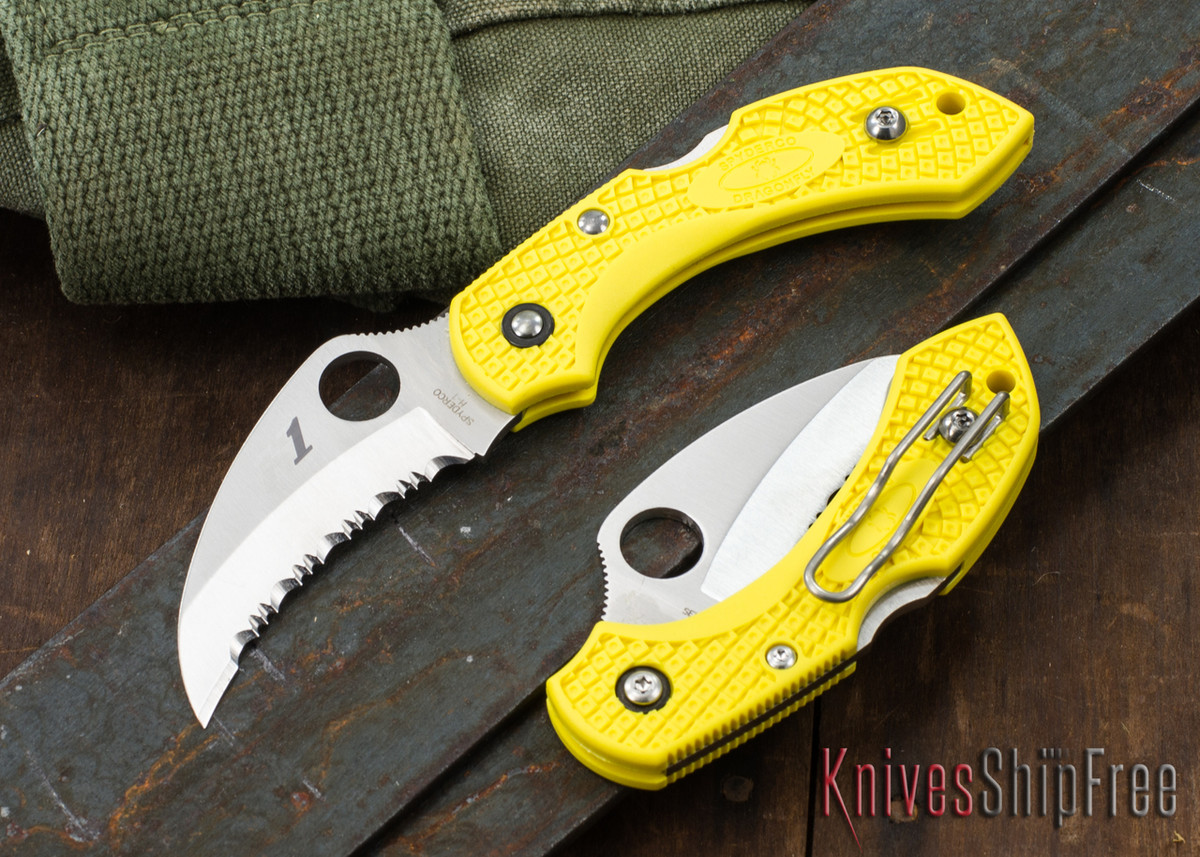 Spyderco: Dragonfly 2 Salt - Yellow FRN - Hawkbill Serrated - H1 Stainless Steel - C28SYL2HB primary image