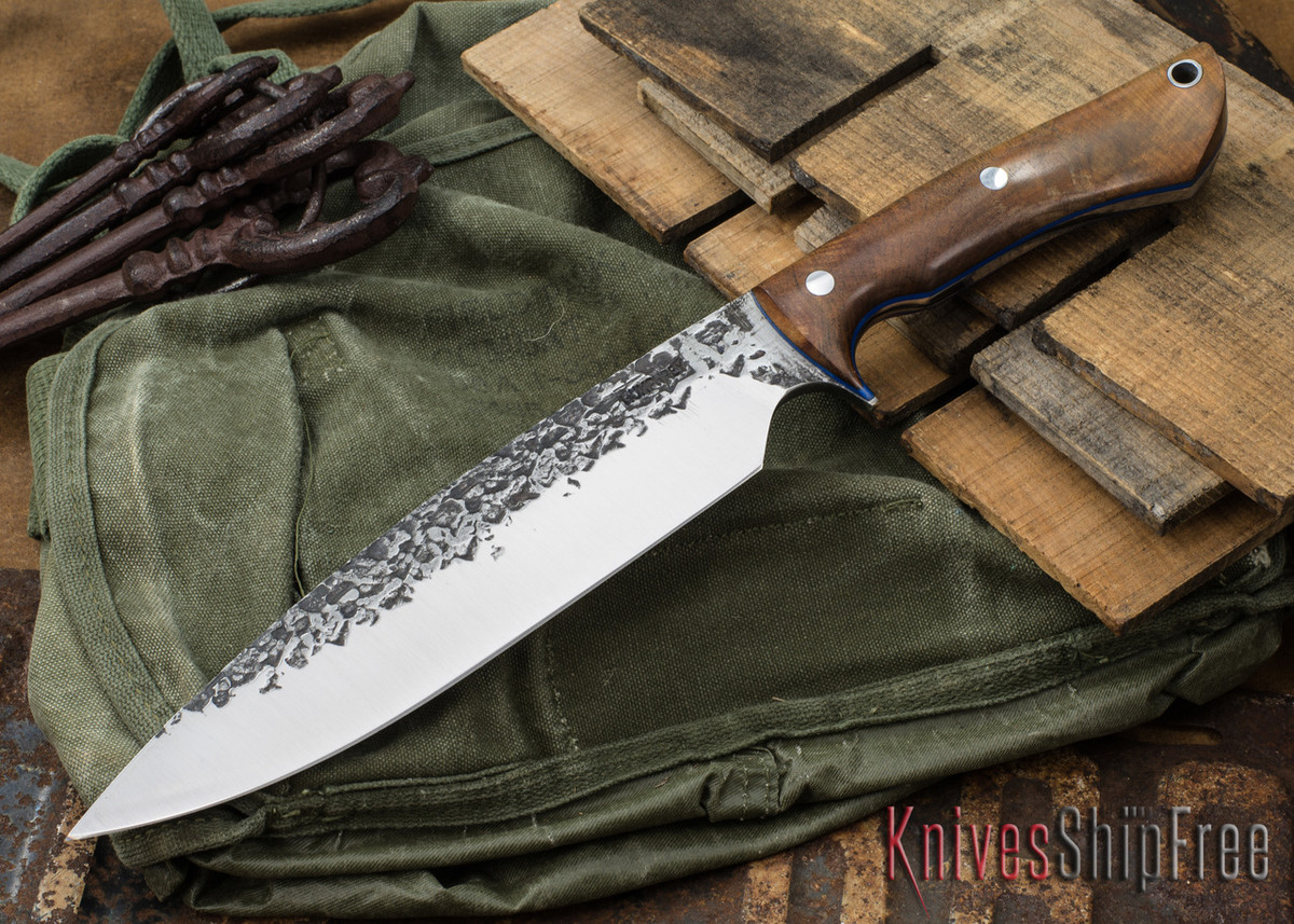Lon Humphrey Knives: Ranger - Big Leaf Maple Burl - Blue Liners - 017