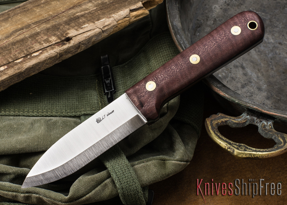 L.T. Wright Knives: Genesis - Scandi Grind - CPM 3V - Dark Curly Maple - Black Liners #1 primary image