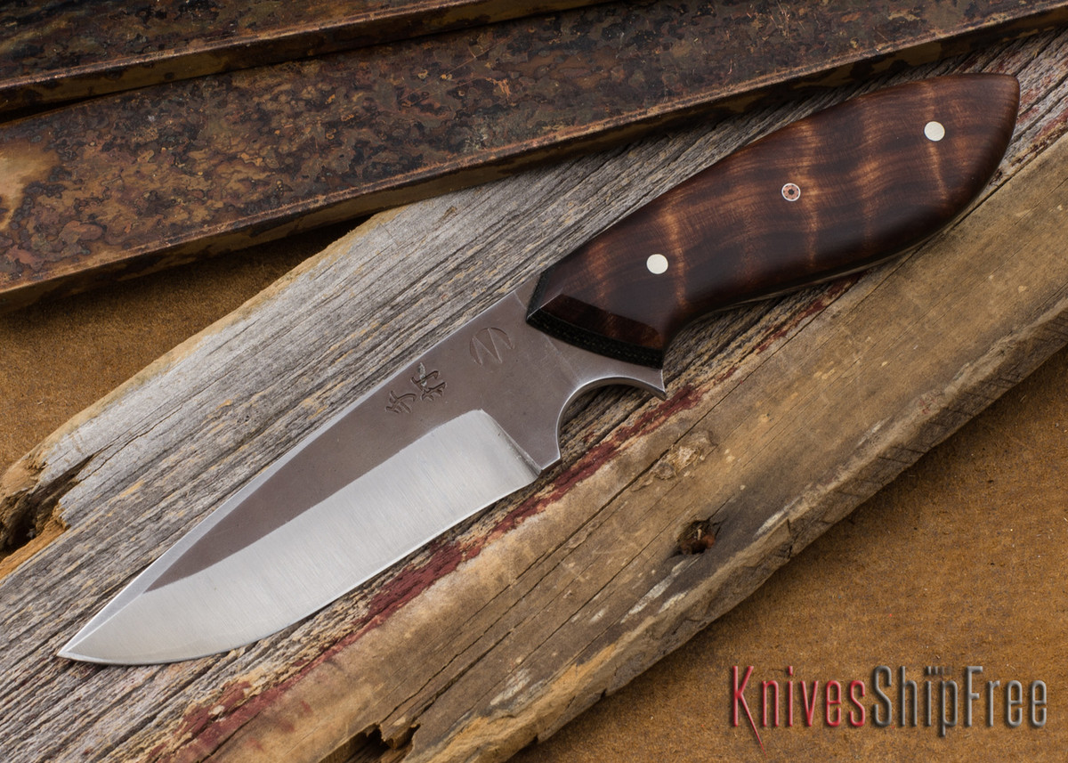 Carter Cutlery: Muteki #1854 Perfect Neck Knife - Curly Redwood - Laminated White Steel