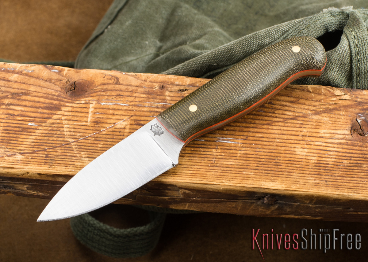 L.T. Wright Knives: Patriot - Green Micarta - Matte - Orange Liners - Flat Ground - A2 Steel primary image