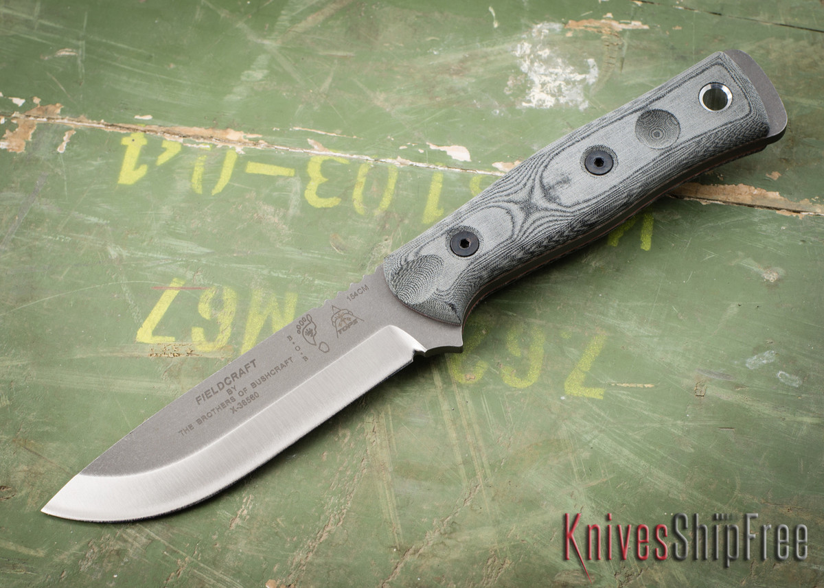 TOPS Knives: Fieldcraft by Brothers of Bushcraft - Black Linen Micarta - Stonewashed Finish primary image