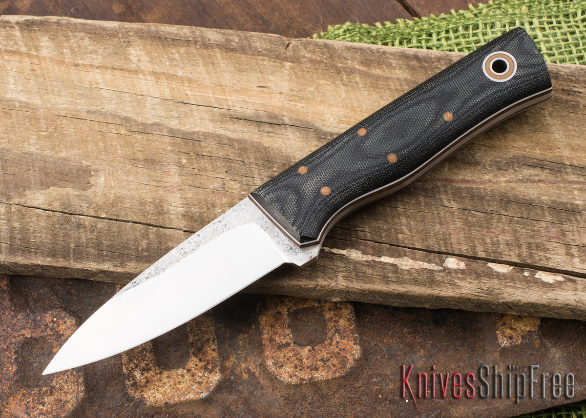 Fiddleback Forge: Bearcub - Black Canvas Micarta - Natural & White Liners - A2 primary image