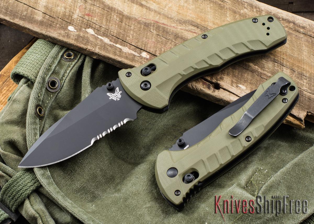 Benchmade Knives: 980SBK Turret - OD Green G-10 - CPM-S30V - Black Serrated Blade primary image