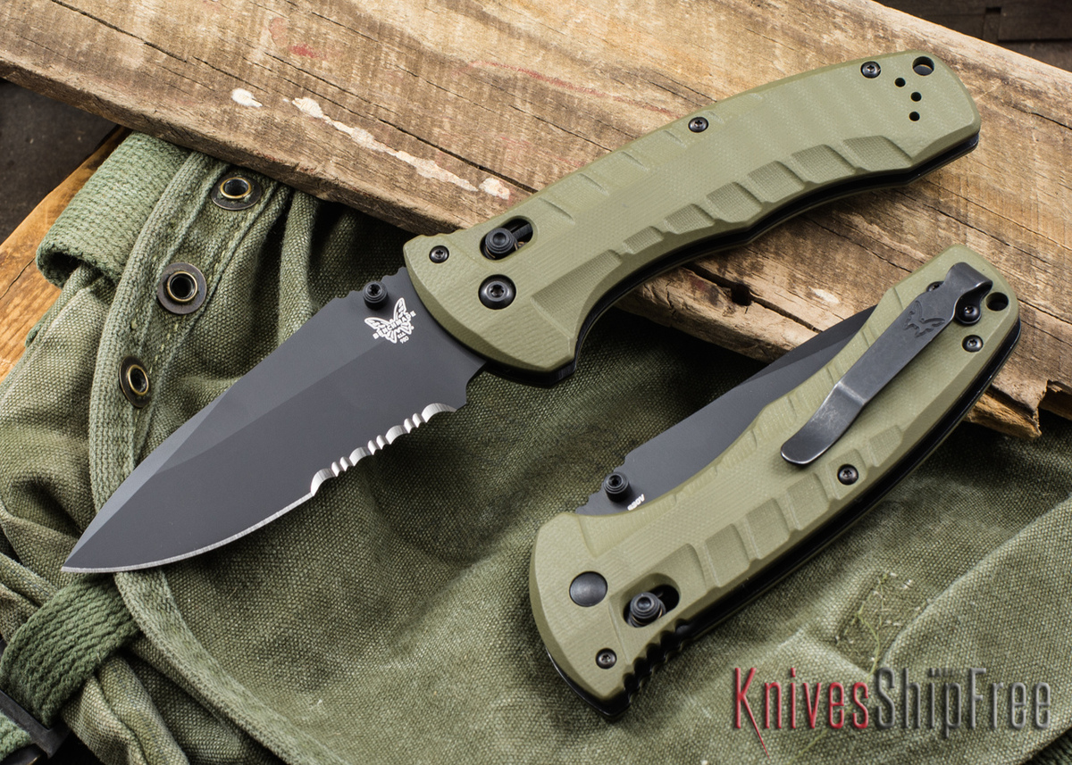 Benchmade Knives: 980SBK Turret - OD Green G-10 - CPM-S30V - Black Serrated Blade primary image