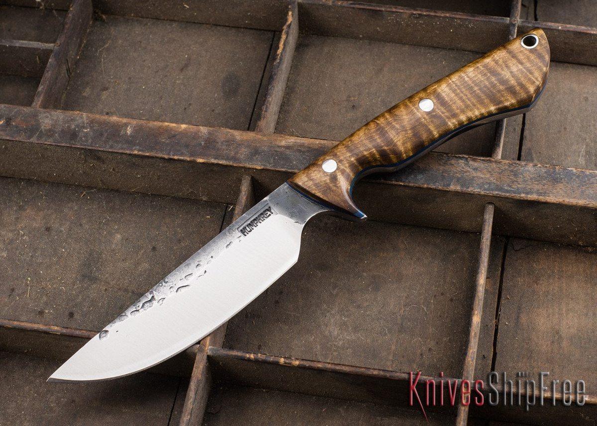 Lon Humphrey Knives: Bridger - Dark Curly Maple - Blue Liners - 020816 primary image