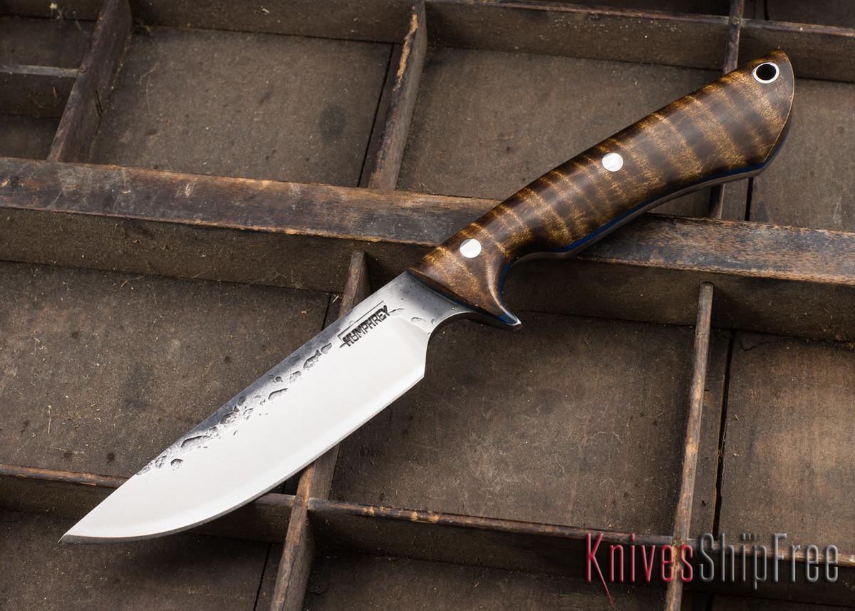 Lon Humphrey Knives: Bridger - Dark Curly Maple - Blue Liners - 020818 primary image