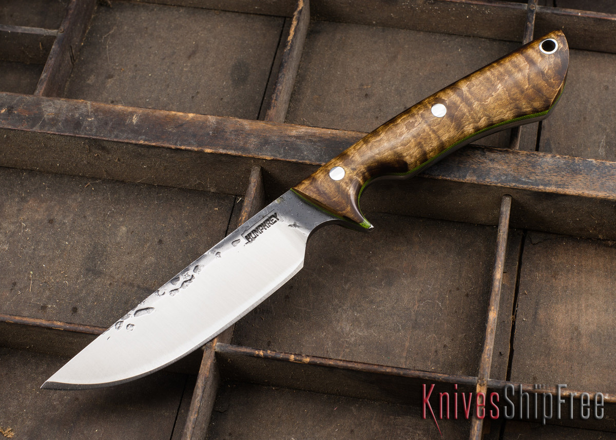 Lon Humphrey Knives: Bridger - Dark Curly Maple - Lime Green Liners - 020823 primary image