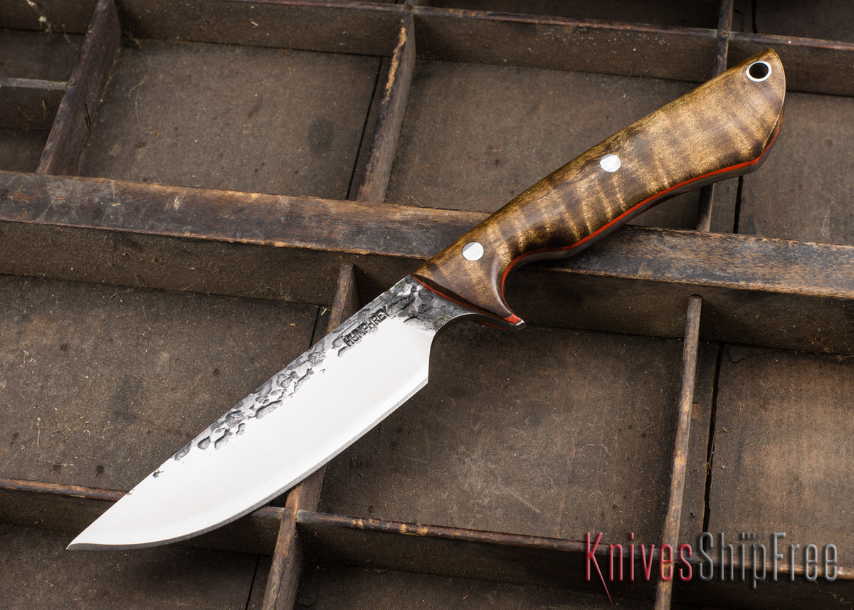 Lon Humphrey Knives: Bridger - Dark Curly Maple - Orange Liners - 020827 primary image