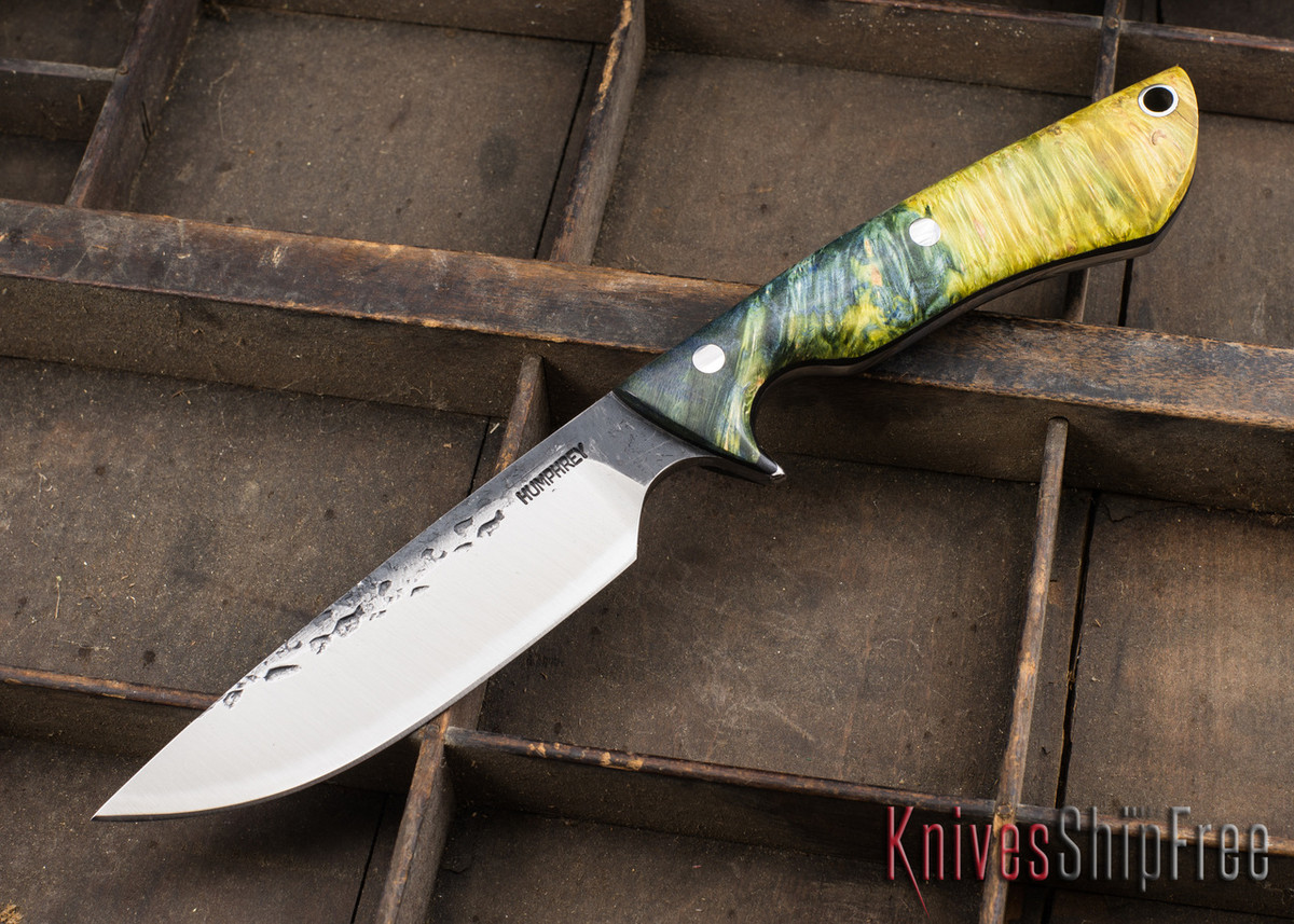 Lon Humphrey Knives: Bridger - Blue & Gold Buckeye Burl - Black Liners - 020865 primary image