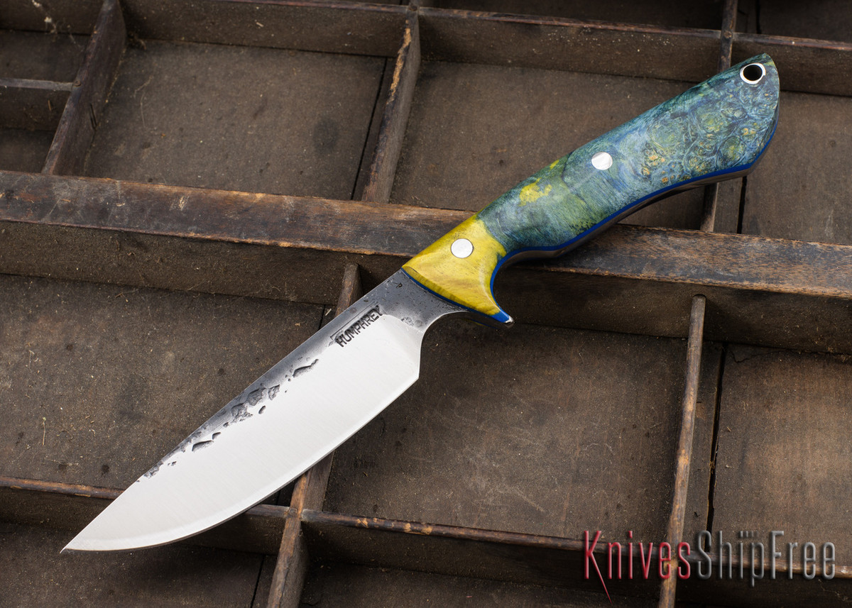 Lon Humphrey Knives: Bridger - Blue & Gold Buckeye Burl - Blue Liners - 020867 primary image