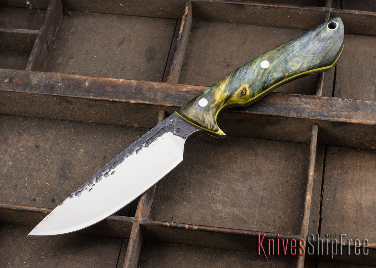 Lon Humphrey Knives: Bridger - Blue & Gold Buckeye Burl - Yellow Liners - 020873 primary image