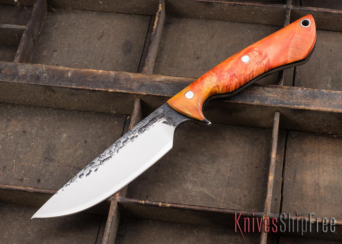 Lon Humphrey Knives: Bridger - Orange & Gold Buckeye Burl - Black Liners - 020876 primary image