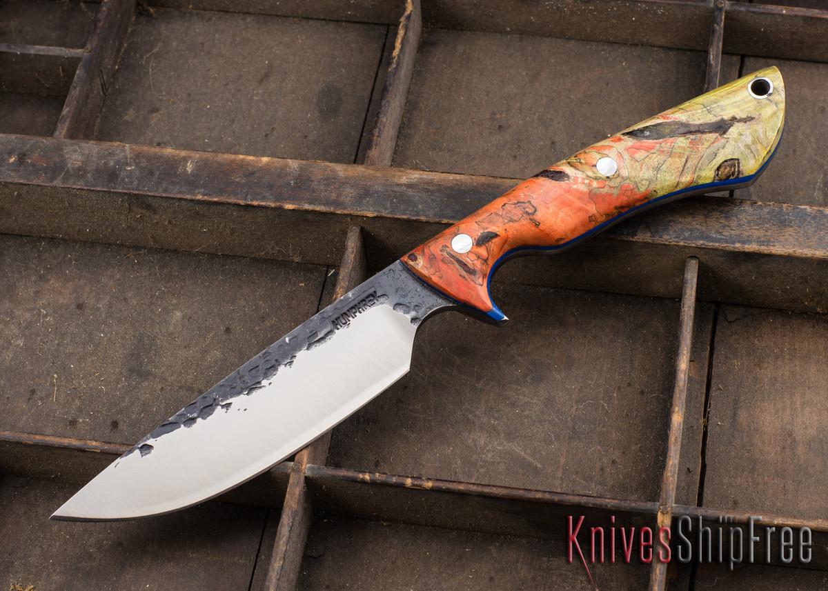 Lon Humphrey Knives: Bridger - Orange & Gold Buckeye Burl - Blue Liners - 020880 primary image