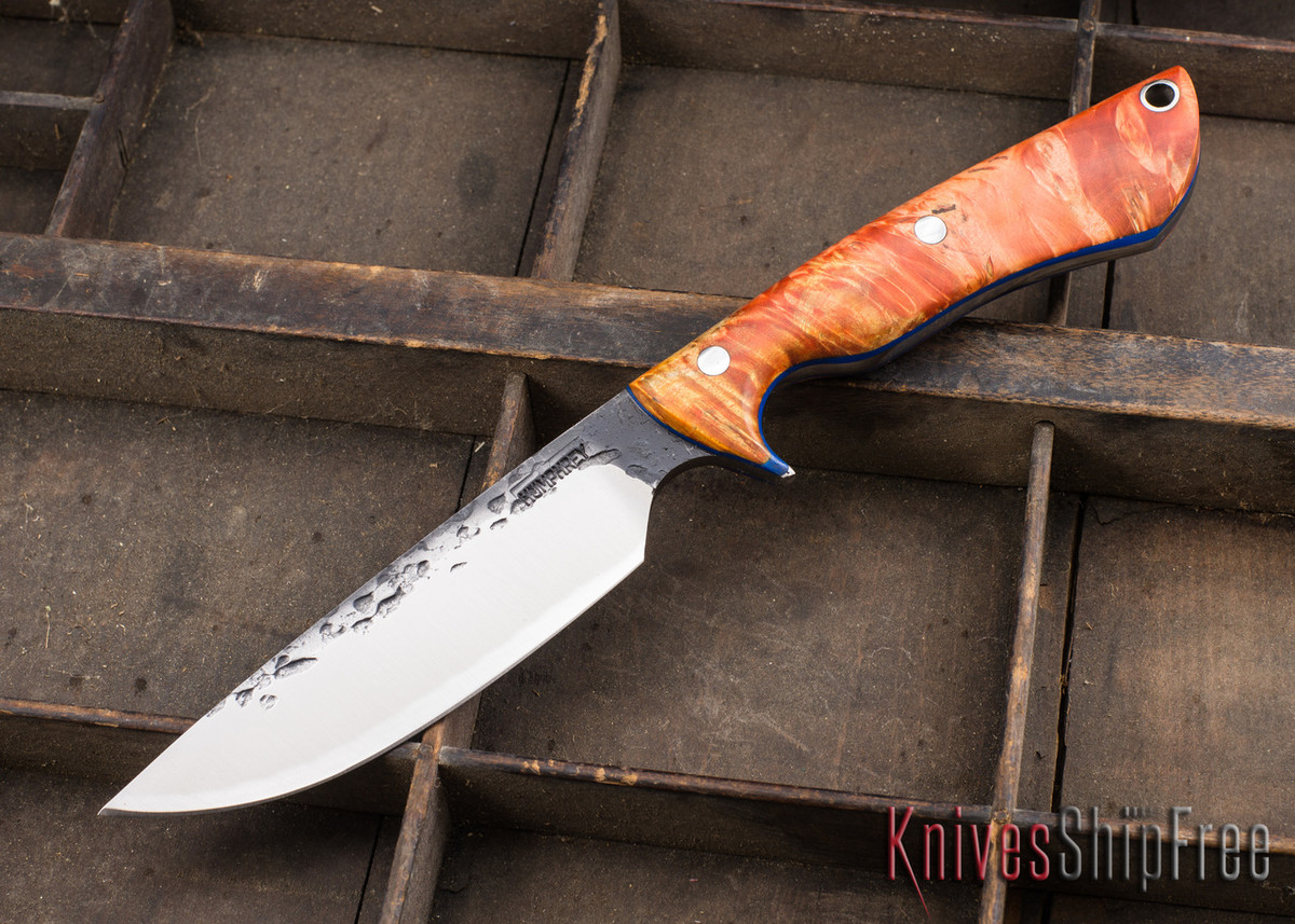 Lon Humphrey Knives: Bridger - Orange & Gold Buckeye Burl - Blue Liners - 020881 primary image