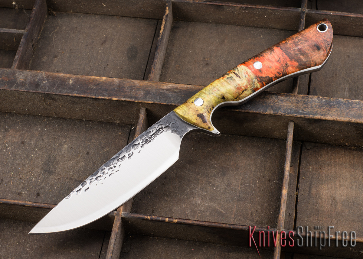 Lon Humphrey Knives: Bridger - Orange & Gold Buckeye Burl - White Liners - 020886 primary image