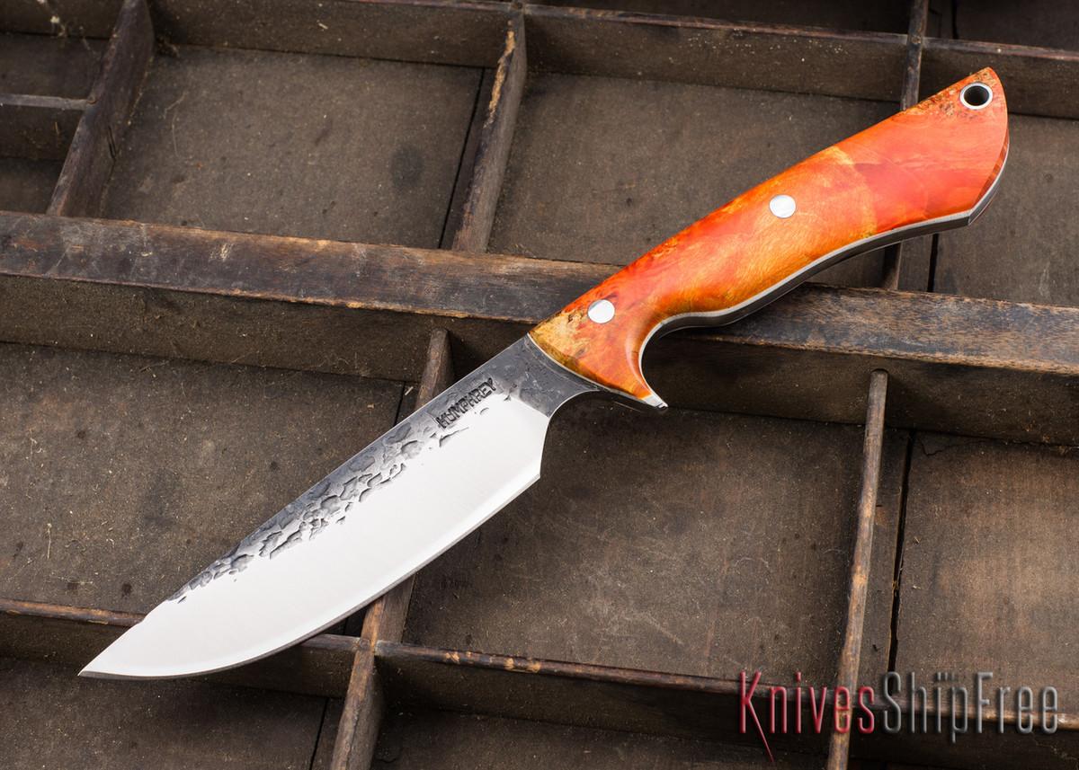 Lon Humphrey Knives: Bridger - Orange & Gold Buckeye Burl - White Liners - 020887 primary image