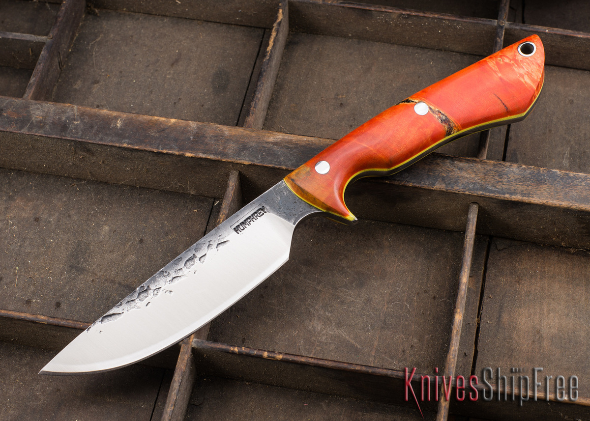 Lon Humphrey Knives: Bridger - Orange & Gold Buckeye Burl - Yellow Liners - 020889 primary image