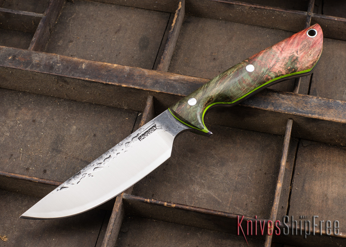 Lon Humphrey Knives: Bridger - Big Leaf Maple Burl - Purple & Lime Liners - 020894 primary image