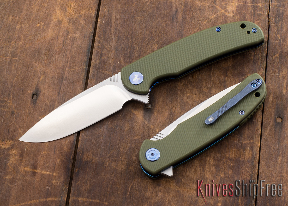 WE Knife: 809 Practic - Green G-10 - Anodized Blue Liners - Bohler M390 primary image