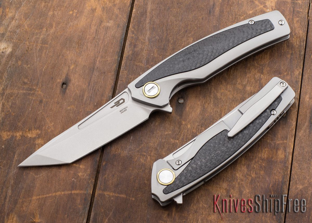 Bestech Knives: Predator - Titanium Framelock - Carbon Fiber Inlay - CPM-S35VN - Satin primary image