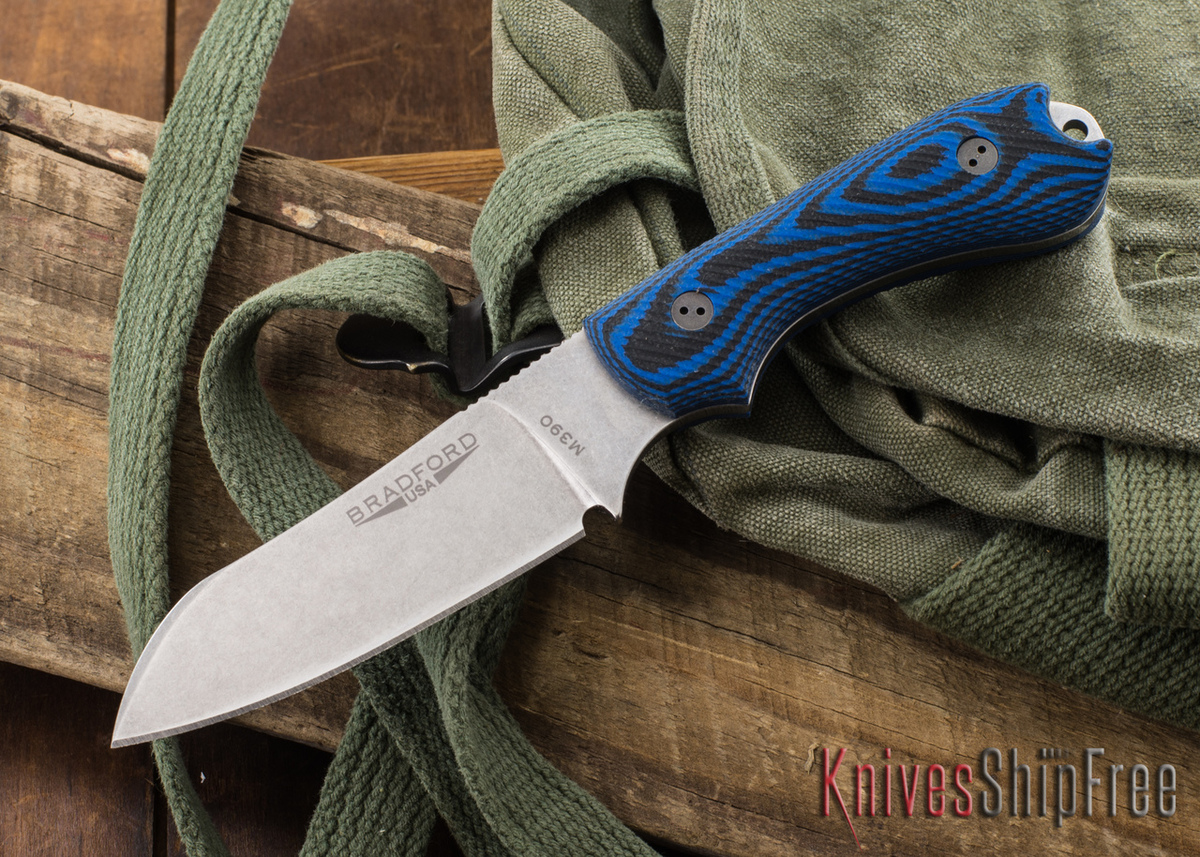 Bradford Knives: Guardian 3 Sheepsfoot - 3D Black & Blue G-10 - M390 - Stonewash primary image