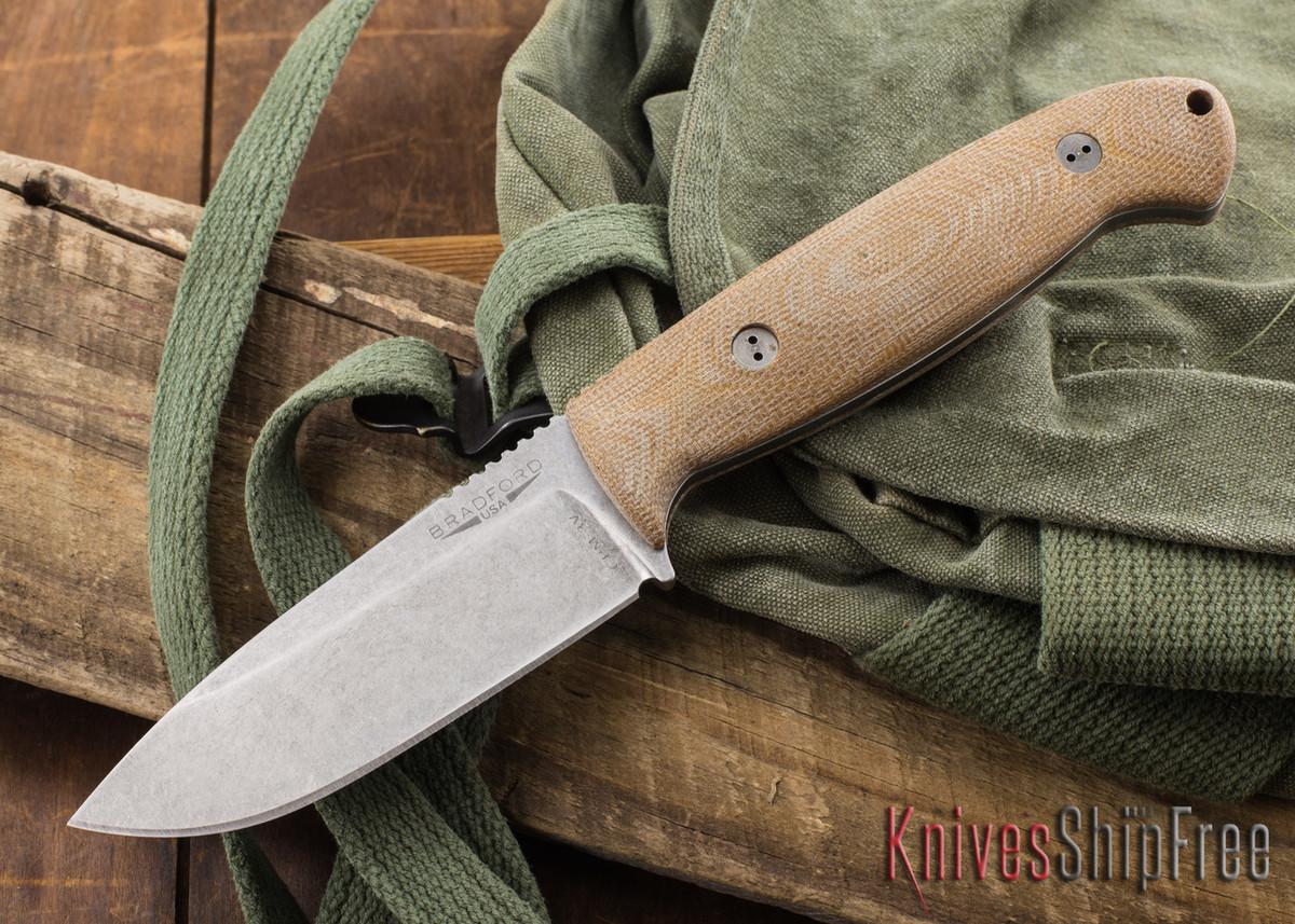 Bradford Knives: Guardian 4.5 - 3D Natural Micarta - CPM-3V - Stonewash Finish primary image