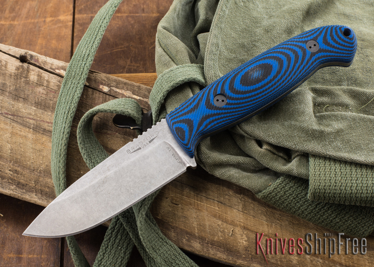 Bradford Knives: Guardian 4.5 - 3D Black & Blue G-10 - CPM-3V - Stonewash primary image