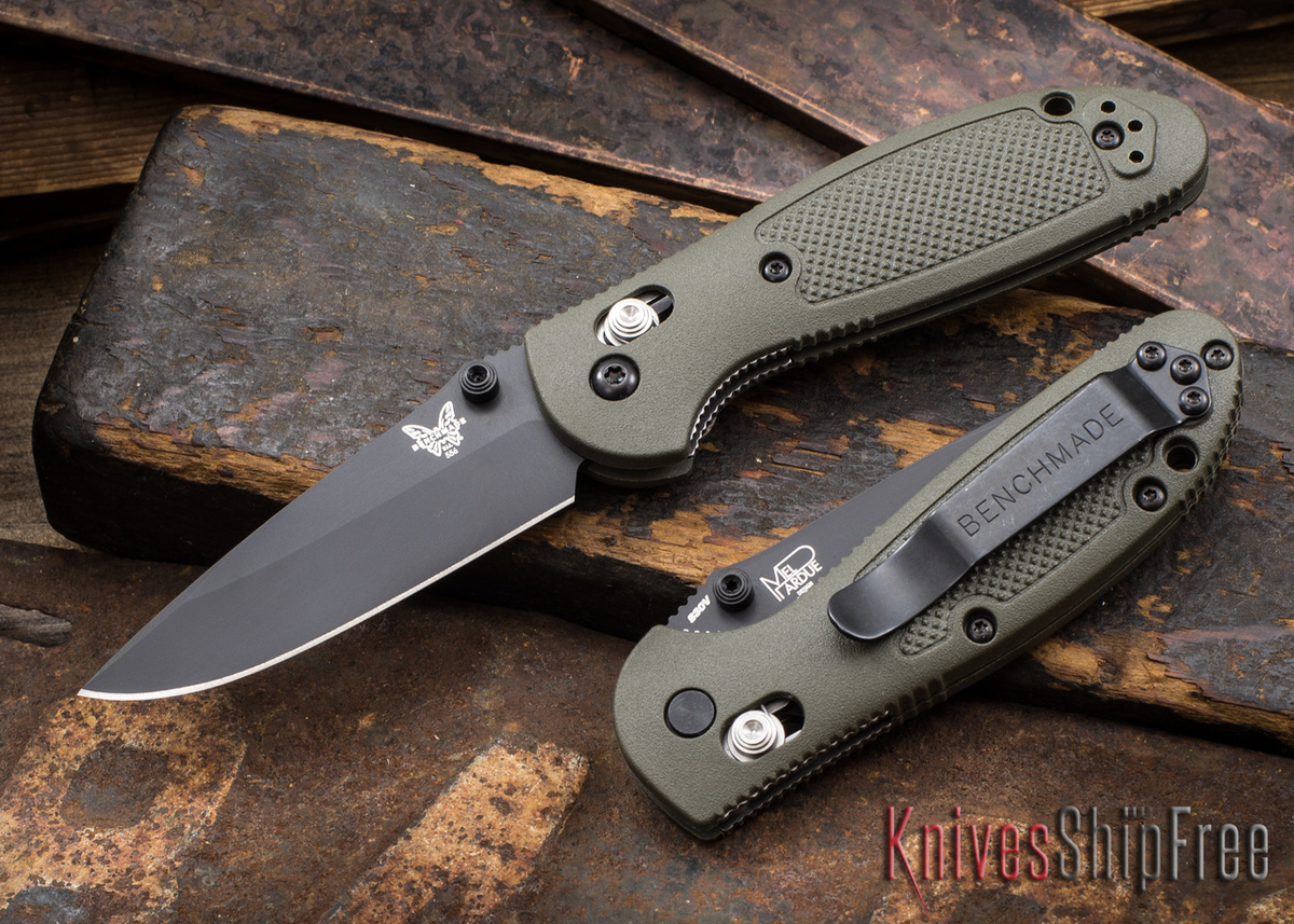 Benchmade Knives: 556BKOD-S30V Mini-Griptilian - OD Green - Modified Drop Point - Black Blade - CPM-S30V - AXIS Lock primary image