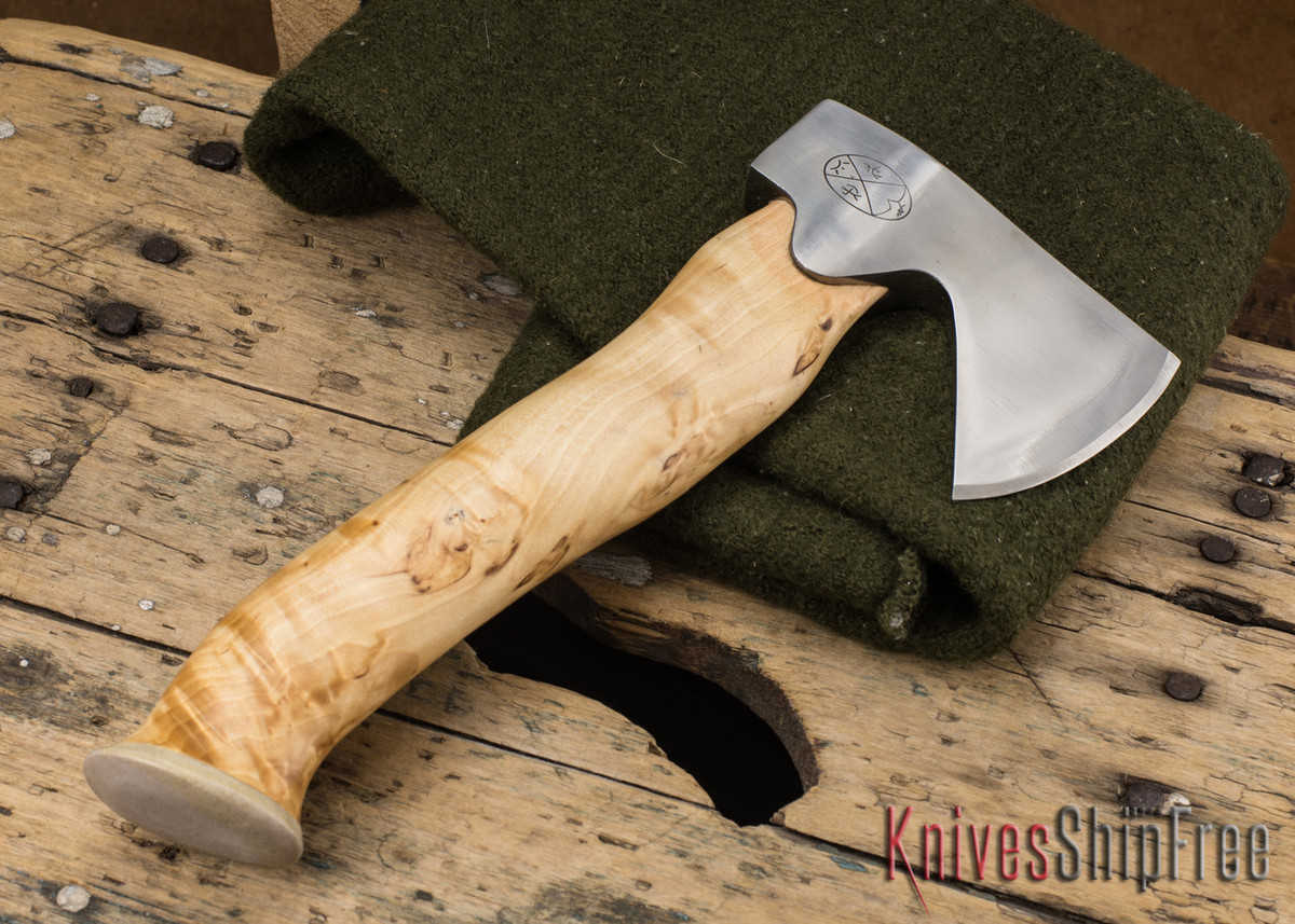 "Karesuando Kniven: ""Unna Aksu"" Hunter's Hatchet - Curly Birch - Stainless Steel - 112 primary image"